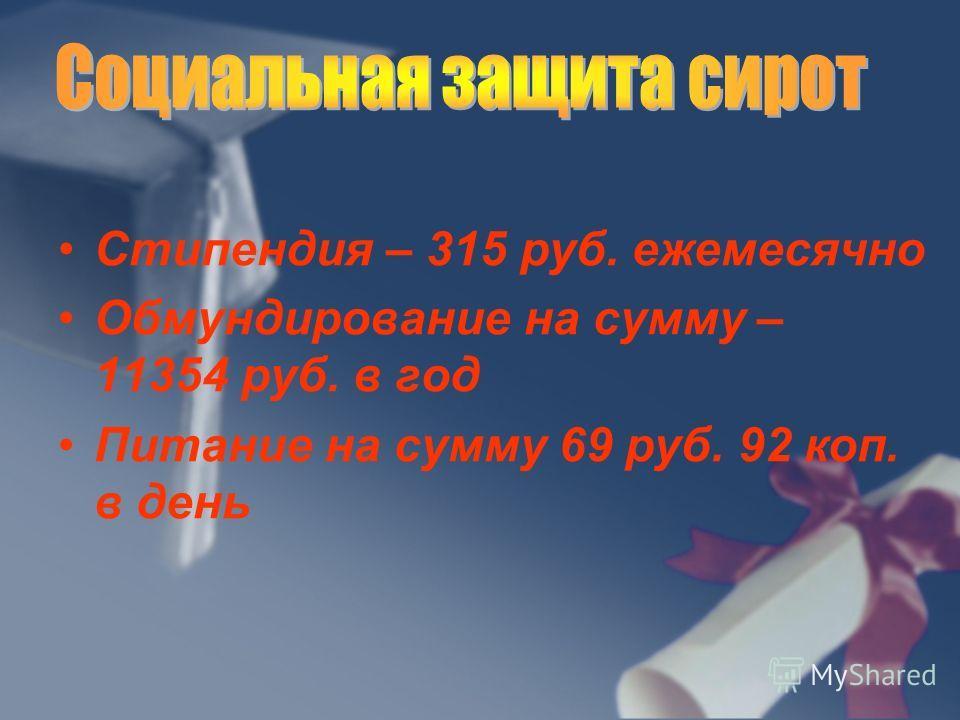Стипендия – 315 руб. ежемесячно Обмундирование на сумму – 11354 руб. в год Питание на сумму 69 руб. 92 коп. в день