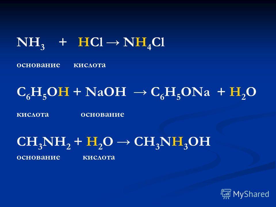 NH 3 + HCl NH 4 Cl основание кислота С 6 Н 5 ОН + NaOH C 6 H 5 ONa + H 2 O кислота основание CH 3 NH 2 + H 2 O CH 3 NH 3 OH основание кислота