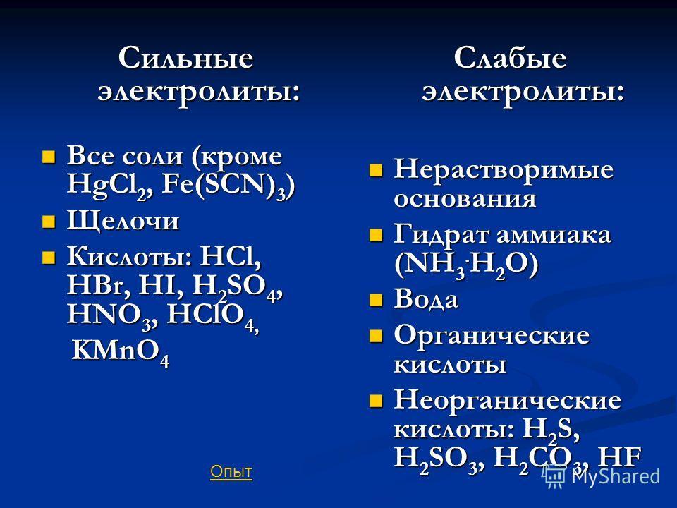 Сильные электролиты: Все соли (кроме HgCl 2, Fe(SCN) 3 ) Все соли (кроме HgCl 2, Fe(SCN) 3 ) Щелочи Щелочи Кислоты: HCl, HBr, HI, H 2 SO 4, HNO 3, HClO 4, Кислоты: HCl, HBr, HI, H 2 SO 4, HNO 3, HClO 4, KMnO 4 KMnO 4 Слабые электролиты: Нерастворимые