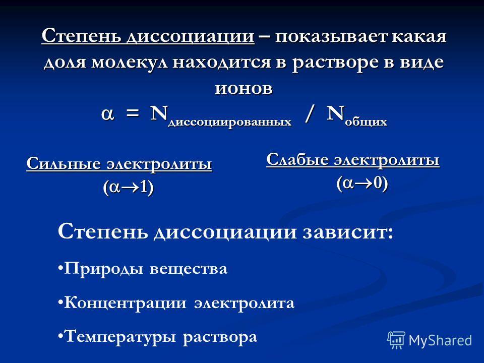 Степень диссоциации – показывает какая доля молекул находится в растворе в виде ионов = N диссоциированных / N общих Сильные электролиты ( 1) Слабые электролиты ( 0) Степень диссоциации зависит: Природы вещества Концентрации электролита Температуры р