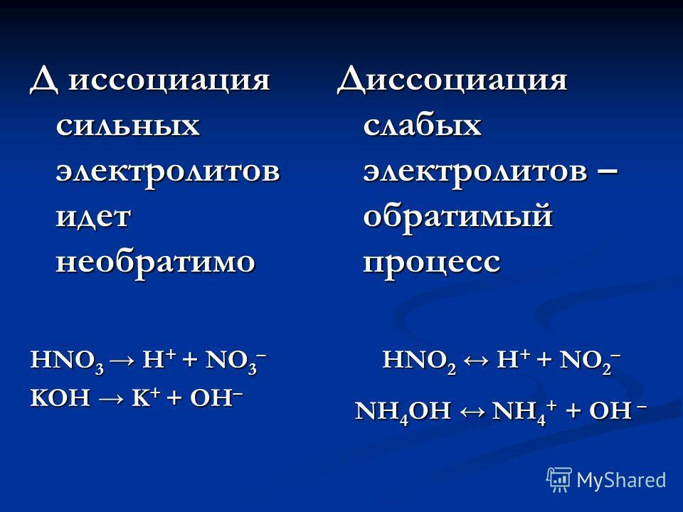 Д иссоциация сильных электролитов идет необратимо HNO 3 H + + NO 3 – KOH K + + OH – Диссоциация слабых электролитов – обратимый процесс HNO 2 H + + NO 2 – NH 4 OH NH 4 + + OH –