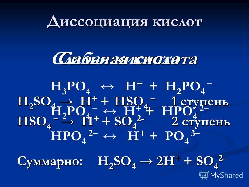 Диссоциация кислот Сильная кислота H 2 SO 4 H + + НSO 4 – 1 ступень НSO 4 – H + + SO 4 2- 2 ступень Суммарно: H 2 SO 4 2H + + SO 4 2- Слабая кислота Н 3 РО 4 Н + + Н 2 РО 4 – Н 2 РО 4 – Н + + НРО 4 2– НРО 4 2– Н + + РО 4 3–