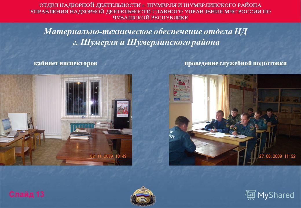 Материально-техническое обеспечение отдела НД г. Шумерля и Шумерлинского района кабинет инспекторовпроведение служебной подготовки Слайд 13