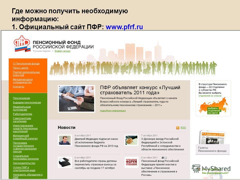 Где можно получить необходимую информацию: 1. Официальный сайт ПФР: www.pfrf.ru