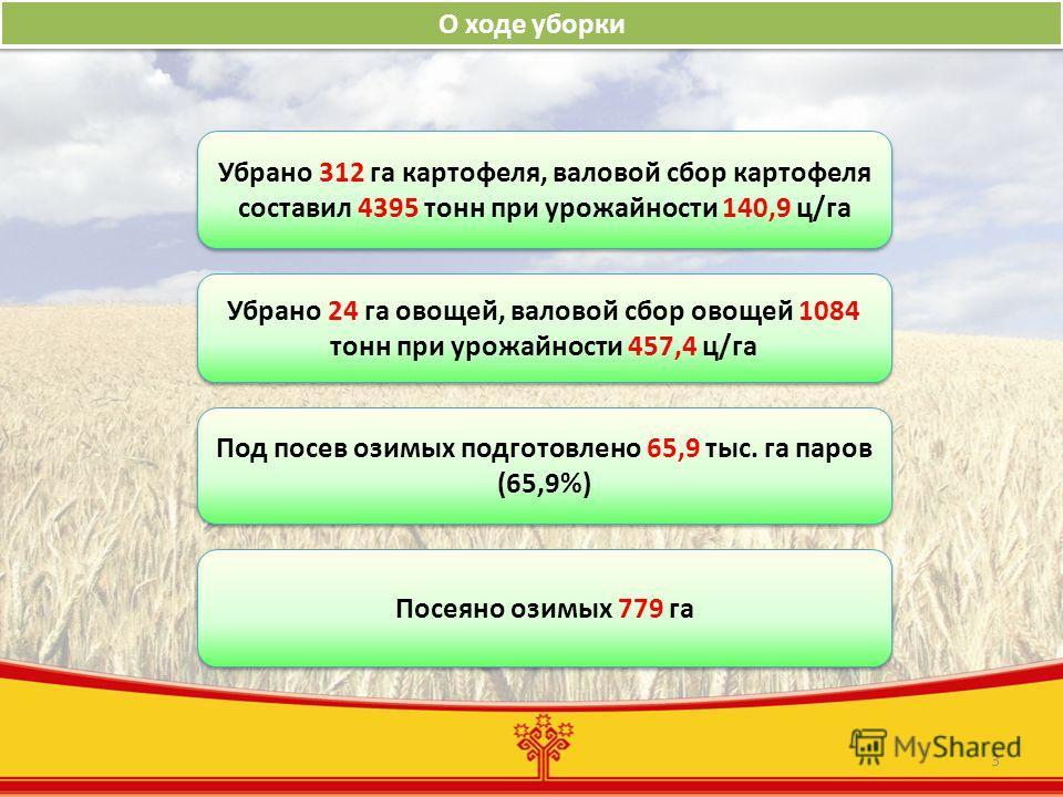 3 О ходе уборки Убрано 312 га картофеля, валовой сбор картофеля составил 4395 тонн при урожайности 140,9 ц/га Убрано 24 га овощей, валовой сбор овощей 1084 тонн при урожайности 457,4 ц/га Под посев озимых подготовлено 65,9 тыс. га паров (65,9%) Посея