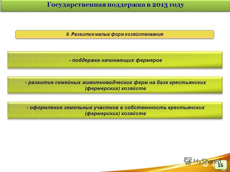 Государственная поддержка в 2013 году - поддержка начинающих фермеров - развитие семейных животноводческих ферм на базе крестьянских (фермерских) хозяйств - оформление земельных участков в собственность крестьянских (фермерских) хозяйств 9. Развитие