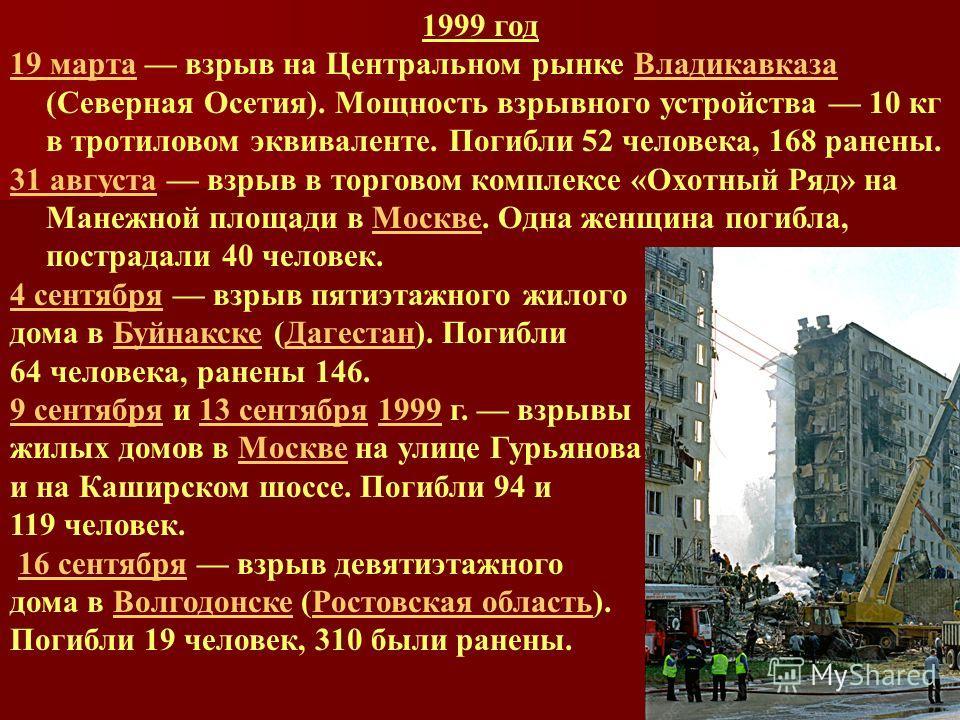 1999 год 19 марта19 марта взрыв на Центральном рынке Владикавказа (Северная Осетия). Мощность взрывного устройства 10 кг в тротиловом эквиваленте. Погибли 52 человека, 168 ранены.Владикавказа 31 августа31 августа взрыв в торговом комплексе «Охотный Р