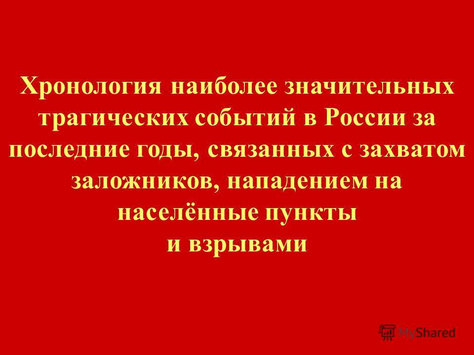 Хронология наиболее значительных трагических событий в России за последние годы, связанных с захватом заложников, нападением на населённые пункты и взрывами