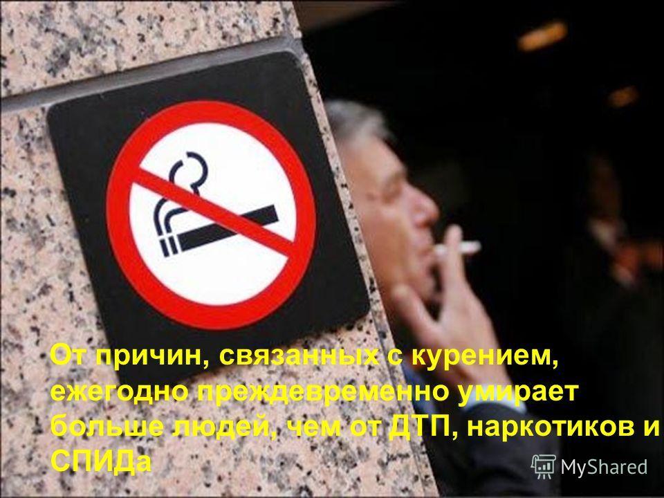 От причин, связанных с курением, ежегодно преждевременно умирает больше людей, чем от ДТП, наркотиков и СПИДа