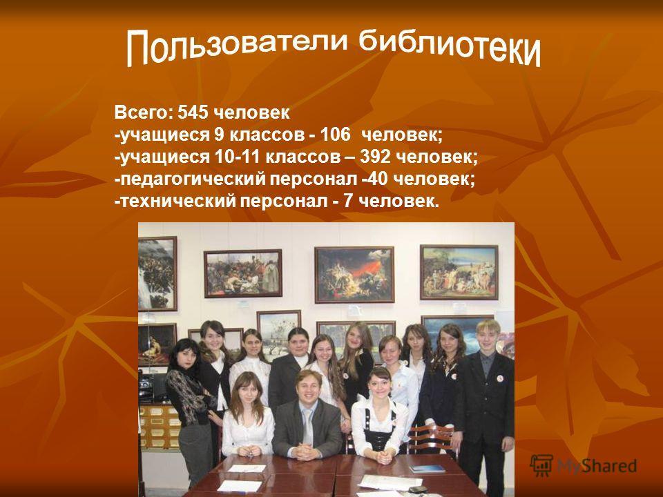 Всего: 545 человек -учащиеся 9 классов - 106 человек; -учащиеся 10-11 классов – 392 человек; -педагогический персонал -40 человек; -технический персонал - 7 человек.
