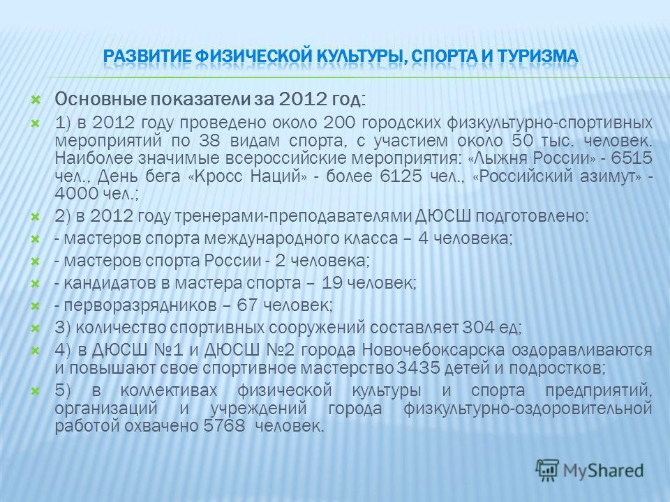 Основные показатели за 2012 год: 1) в 2012 году проведено около 200 городских физкультурно-спортивных мероприятий по 38 видам спорта, с участием около 50 тыс. человек. Наиболее значимые всероссийские мероприятия: «Лыжня России» - 6515 чел., День бега