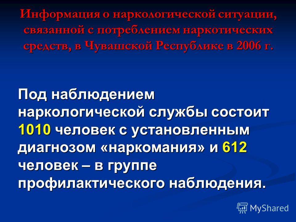 Информация о наркологической ситуации, связанной с потреблением наркотических средств, в Чувашской Республике в 2006 г. Под наблюдением наркологической службы состоит 1010 человек с установленным диагнозом «наркомания» и 612 человек – в группе профил