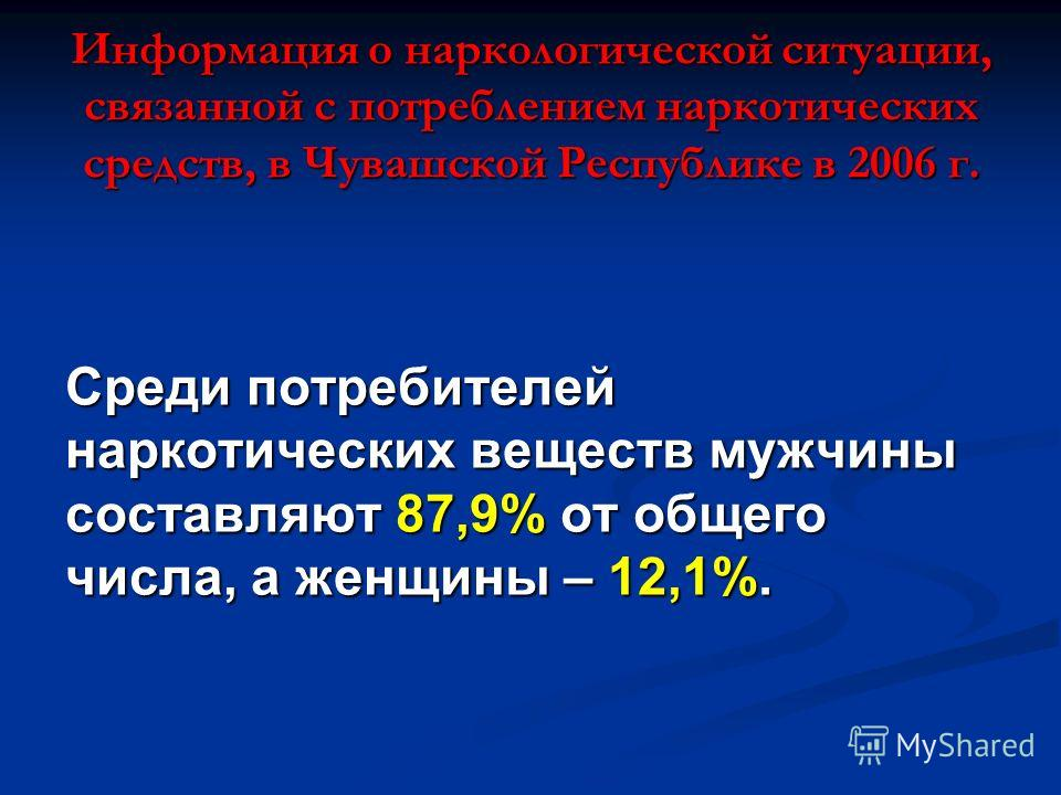 Информация о наркологической ситуации, связанной с потреблением наркотических средств, в Чувашской Республике в 2006 г. Среди потребителей наркотических веществ мужчины составляют 87,9% от общего числа, а женщины – 12,1%.