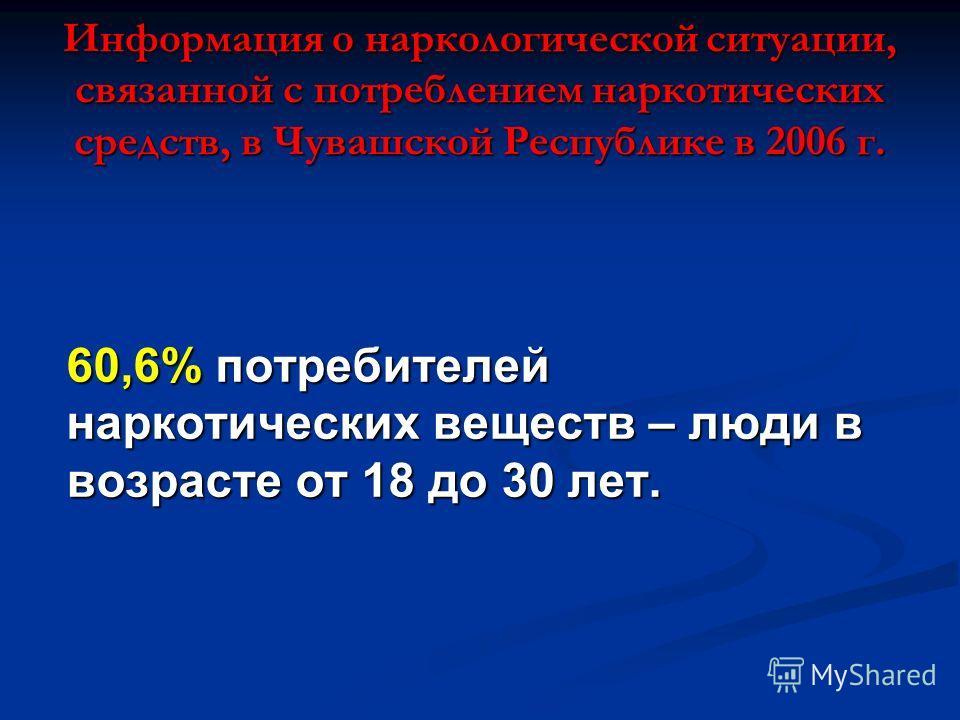 Информация о наркологической ситуации, связанной с потреблением наркотических средств, в Чувашской Республике в 2006 г. 60,6% потребителей наркотических веществ – люди в возрасте от 18 до 30 лет.