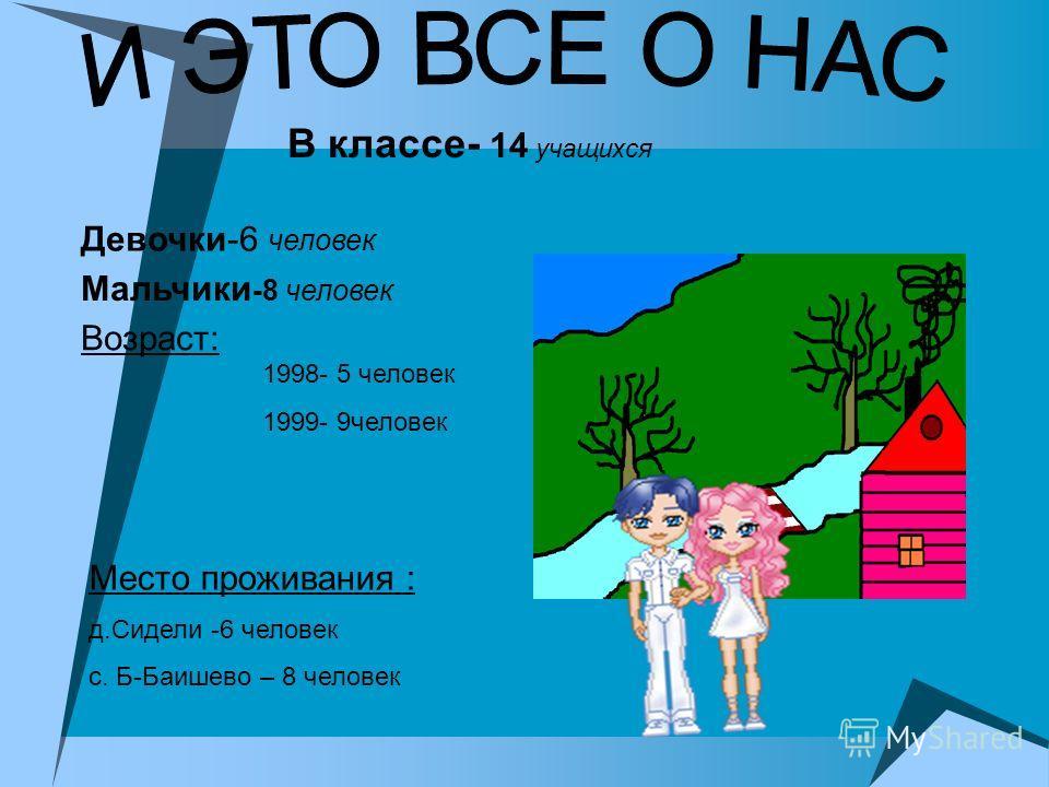 Мальчики -8 человек Девочки-6 человек В классе- 14 учащихся Возраст: 1998- 5 человек 1999- 9человек Место проживания : д.Сидели -6 человек с. Б-Баишево – 8 человек
