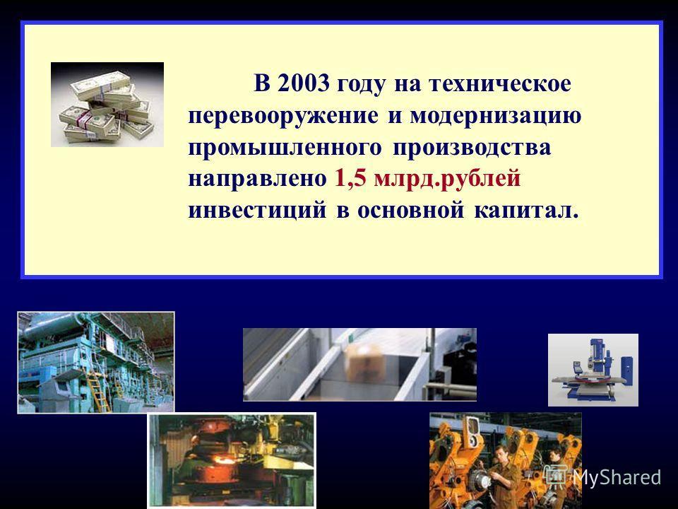 В 2003 году на техническое перевооружение и модернизацию промышленного производства направлено 1,5 млрд.рублей инвестиций в основной капитал.