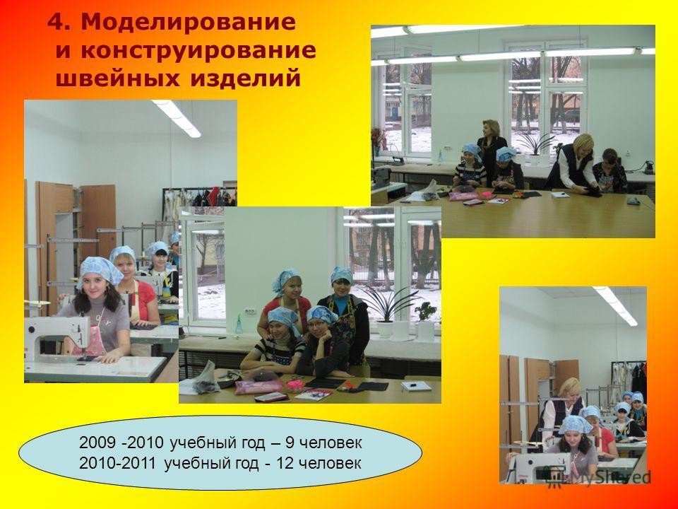 2009 -2010 учебный год – 9 человек 2010-2011 учебный год - 12 человек 4. Моделирование и конструирование швейных изделий