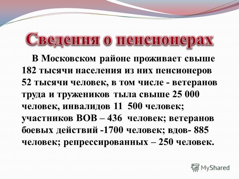 В Московском районе проживает свыше 182 тысячи населения из них пенсионеров 52 тысячи человек, в том числе - ветеранов труда и тружеников тыла свыше 25 000 человек, инвалидов 11 500 человек; участников ВОВ – 436 человек; ветеранов боевых действий -17