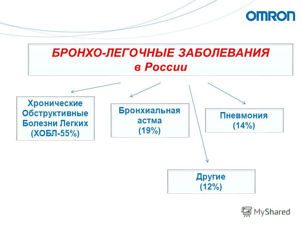 БРОНХО-ЛЕГОЧНЫЕ ЗАБОЛЕВАНИЯ в России Хронические Обструктивные Болезни Легких (ХОБЛ-55%) Бронхиальная астма (19%) Пневмония (14%) Другие (12%)