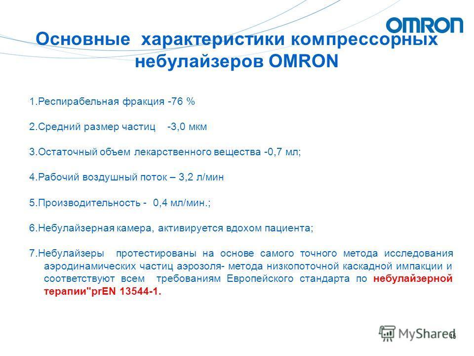 15 Основные характеристики компрессорных небулайзеров OMRON 1.Респирабельная фракция -76 % 2.Средний размер частиц -3,0 мкм 3.Остаточный объем лекарственного вещества -0,7 мл; 4.Рабочий воздушный поток – 3,2 л/мин 5.Производительность - 0,4 мл/мин.;