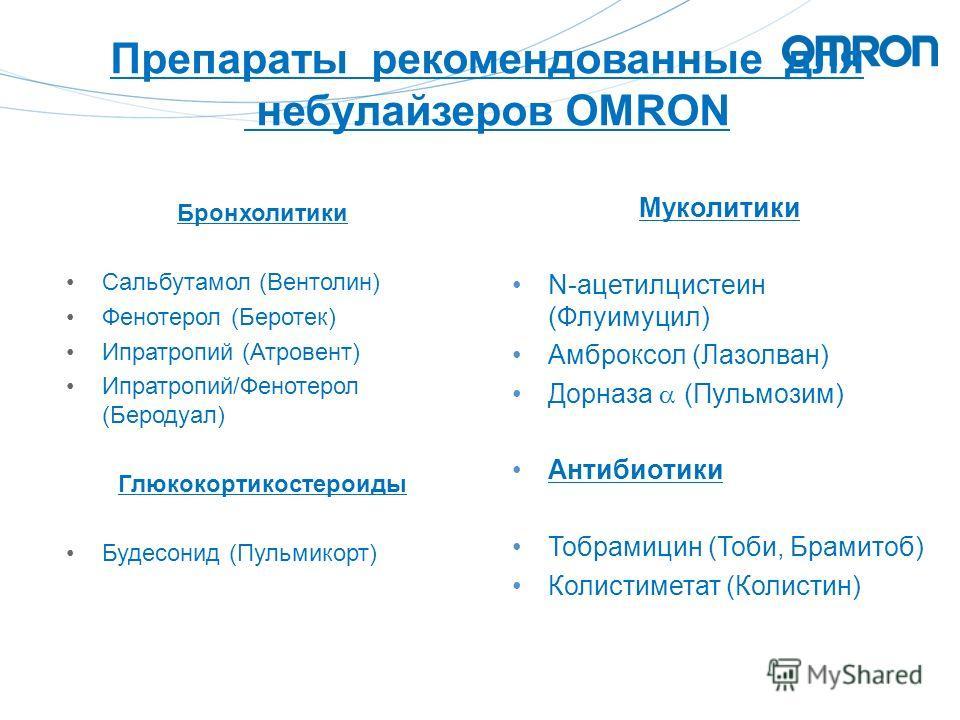 Препараты рекомендованные для небулайзеров OMRON Бронхолитики Сальбутамол (Вентолин) Фенотерол (Беротек) Ипратропий (Атровент) Ипратропий/Фенотерол (Беродуал) Глюкокортикостероиды Будесонид (Пульмикорт) Муколитики N-ацетилцистеин (Флуимуцил) Амброксо