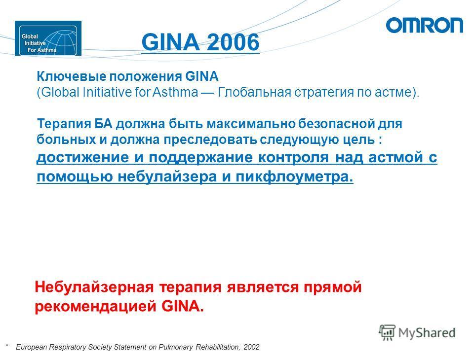 GINA 2006 Ключевые положения GINA (Global Initiative for Asthma Глобальная стратегия по астме). Терапия БА должна быть максимально безопасной для больных и должна преследовать следующую цель : достижение и поддержание контроля над астмой с помощью не
