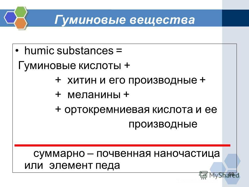 68 Гуминовые вещества humic substances = Гуминовые кислоты + + хитин и его производные + + меланины + + ортокремниевая кислота и ее производные суммарно – почвенная наночастица или элемент педа