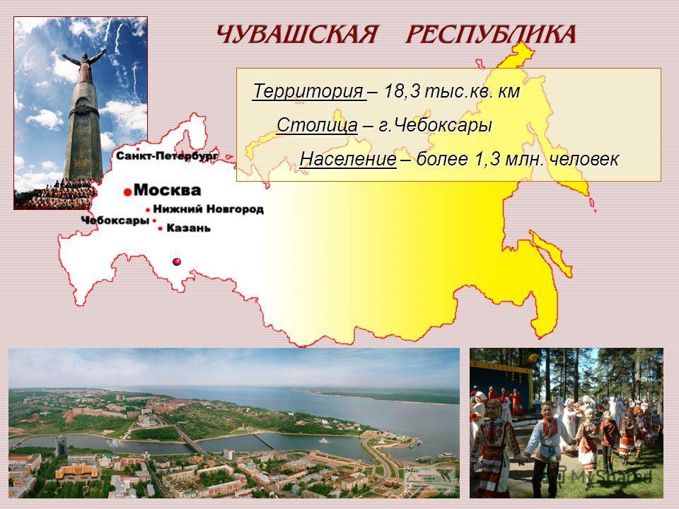 2 ЧУВАШСКАЯ РЕСПУБЛИКА Территория – 18,3 тыс.кв. км Территория – 18,3 тыс.кв. км Столица – г.Чебоксары Столица – г.Чебоксары Население – более 1,3 млн. человек Население – более 1,3 млн. человек