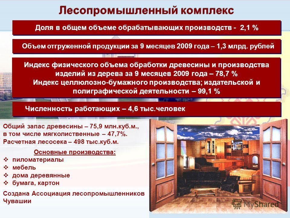 27 Лесопромышленный комплекс Объем отгруженной продукции за 9 месяцев 2009 года – 1,3 млрд. рублей Доля в общем объеме обрабатывающих производств - 2,1 % Индекс физического объема обработки древесины и производства изделий из дерева за 9 месяцев 2009