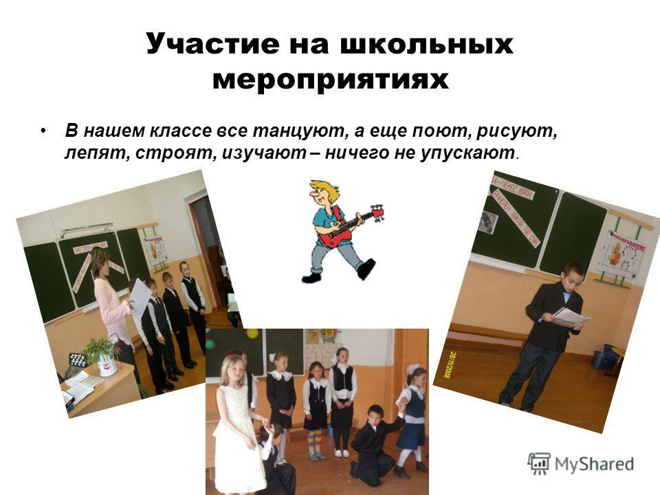 Участие на школьных мероприятиях В нашем классе все танцуют, а еще поют, рисуют, лепят, строят, изучают – ничего не упускают.