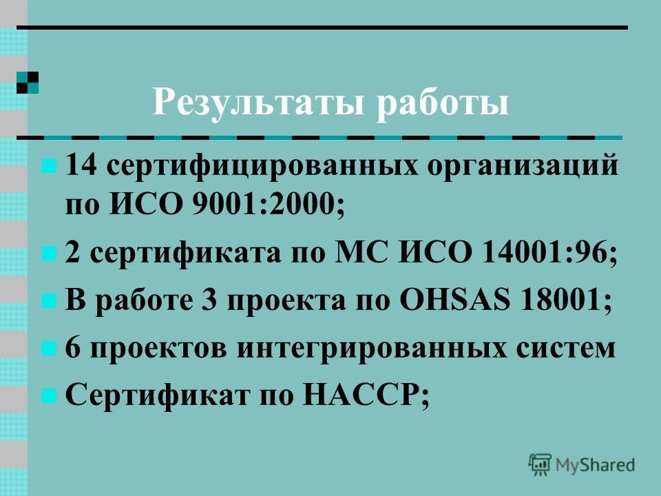 Результаты работы 14 сертифицированных организаций по ИСО 9001:2000; 2 сертификата по МС ИСО 14001:96; В работе 3 проекта по OHSAS 18001; 6 проектов интегрированных систем Сертификат по НАССР;
