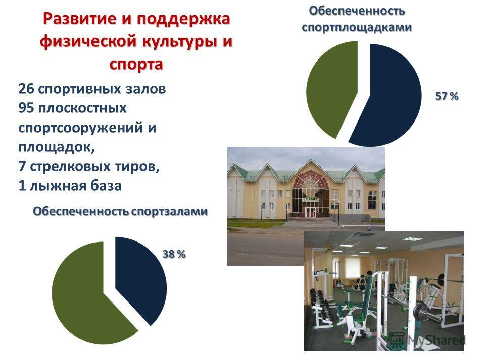 26 спортивных залов 95 плоскостных спортсооружений и площадок, 7 стрелковых тиров, 1 лыжная база Развитие и поддержка физической культуры и спорта