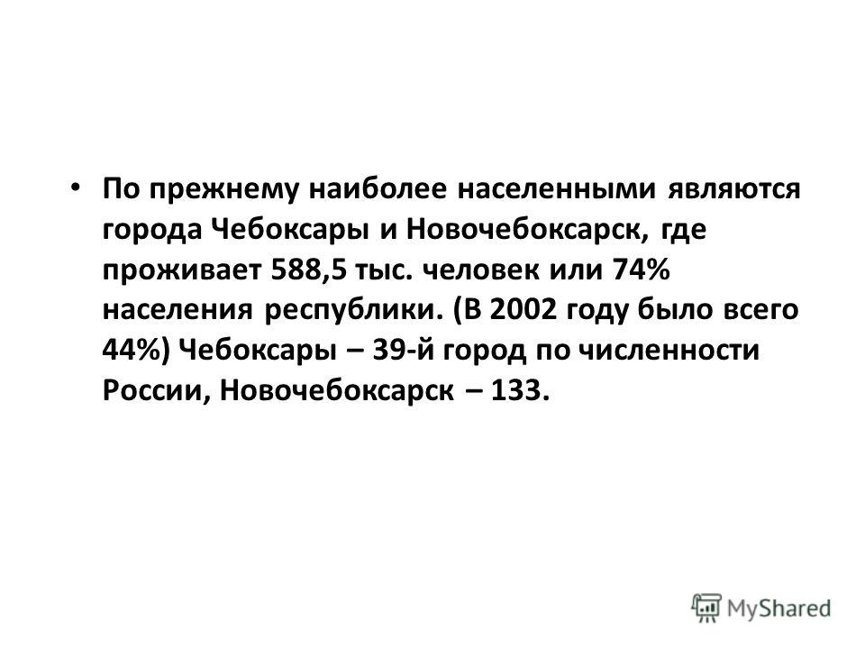 По прежнему наиболее населенными являются города Чебоксары и Новочебоксарск, где проживает 588,5 тыс. человек или 74% населения республики. (В 2002 году было всего 44%) Чебоксары – 39-й город по численности России, Новочебоксарск – 133.