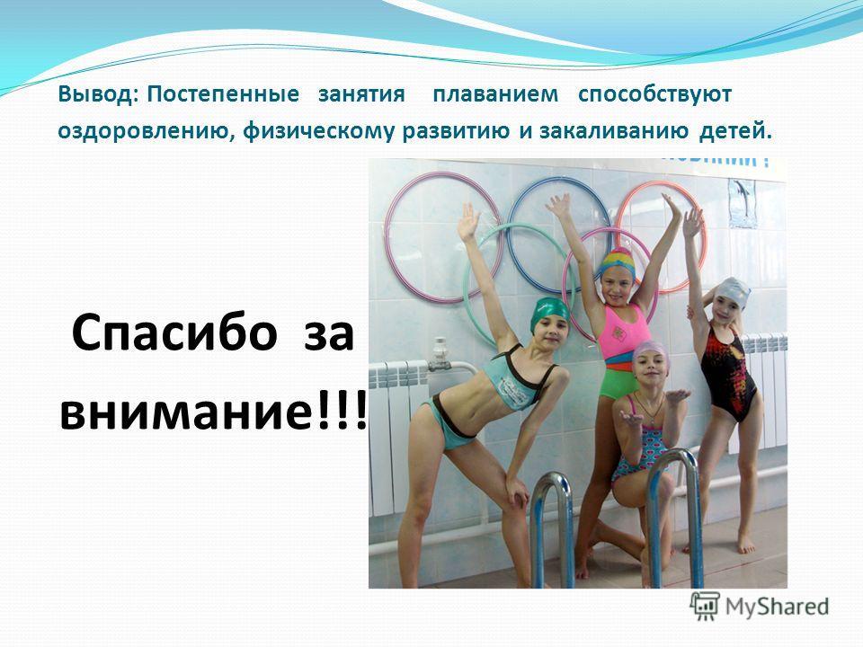 Вывод: Постепенные занятия плаванием способствуют оздоровлению, физическому развитию и закаливанию детей. Спасибо за внимание!!!