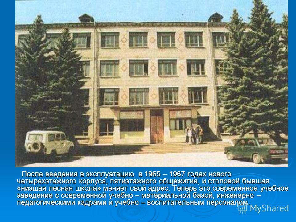 15 сентября 1895 года был основан Мариинско- Посадский лесотехнический техникум. Вначале он располагался в доме 12 (ныне 20 ) по улице Набережной, купленном у Мариинско-Посадского общества, и имел статус низшей лесной школы, которая готовила лесных к