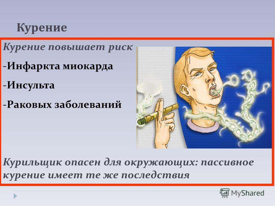 Курение Курение повышает риск -Инфаркта миокарда -Инсульта -Раковых заболеваний Курильщик опасен для окружающих: пассивное курение имеет те же последствия