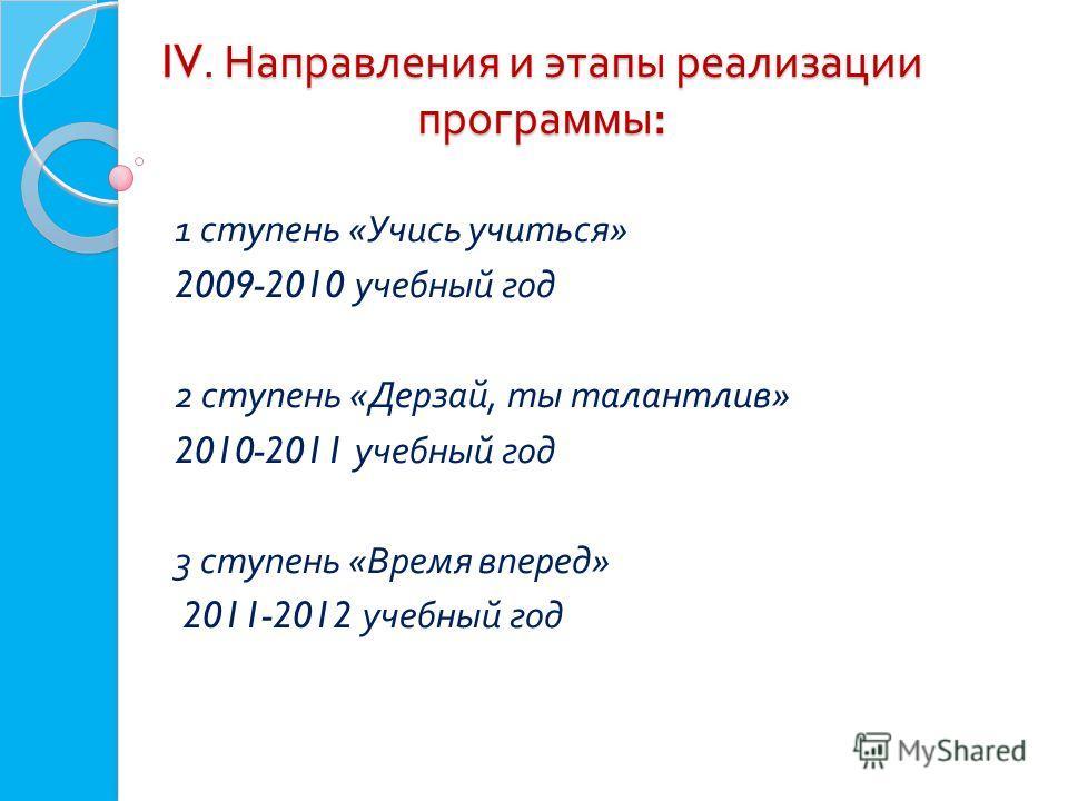 IV. Направления и этапы реализации программы : IV. Направления и этапы реализации программы : 1 ступень « Учись учиться » 2009-2010 учебный год 2 ступень « Дерзай, ты талантлив » 2010-2011 учебный год 3 ступень « Время вперед » 2011-2012 учебный год