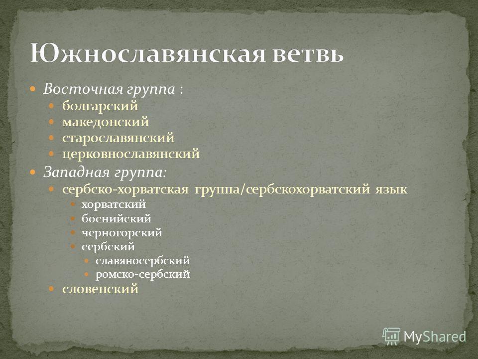 Восточная группа : болгарский македонский старославянский церковнославянский Западная группа: сербско-хорватская группа/сербскохорватский язык хорватский боснийский черногорский сербский славяносербский ромско-сербский словенский