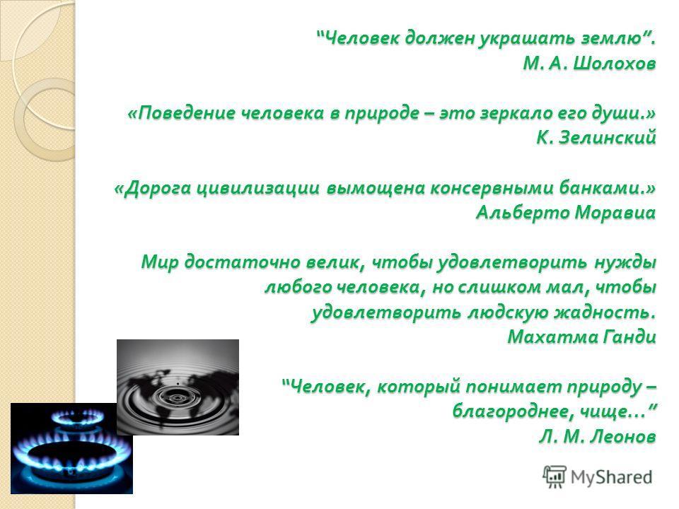 Человек должен украшать землю. М. А. Шолохов « Поведение человека в природе – это зеркало его души.» К. Зелинский « Дорога цивилизации вымощена консервными банками.» Альберто Моравиа Мир достаточно велик, чтобы удовлетворить нужды любого человека, но