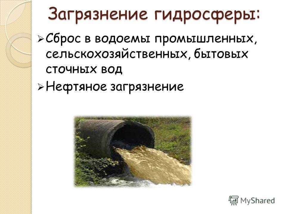 Загрязнение гидросферы: Сброс в водоемы промышленных, сельскохозяйственных, бытовых сточных вод Нефтяное загрязнение