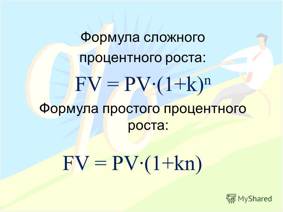 Формула сложного процентного роста: FV = PV(1+k) n Формула простого процентного роста: FV = PV(1+kn)