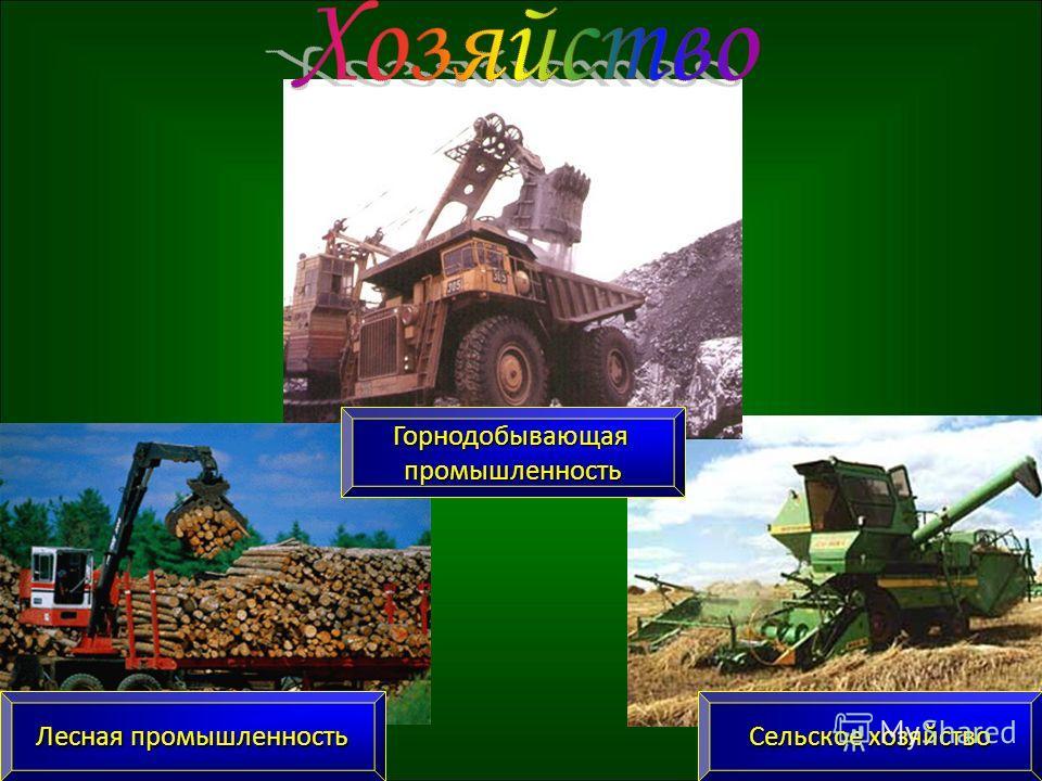 Горнодобывающаяпромышленность Сельское хозяйство Лесная промышленность