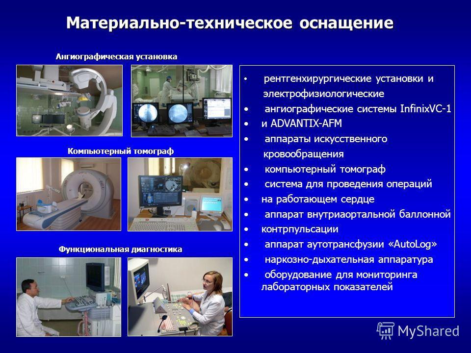 Ангиографическая установка Материально-техническое оснащение рентгенхирургические установки и электрофизиологические ангиографические системы InfinixVC-1 и ADVANTIX-AFM аппараты искусственного кровообращения компьютерный томограф система для проведен