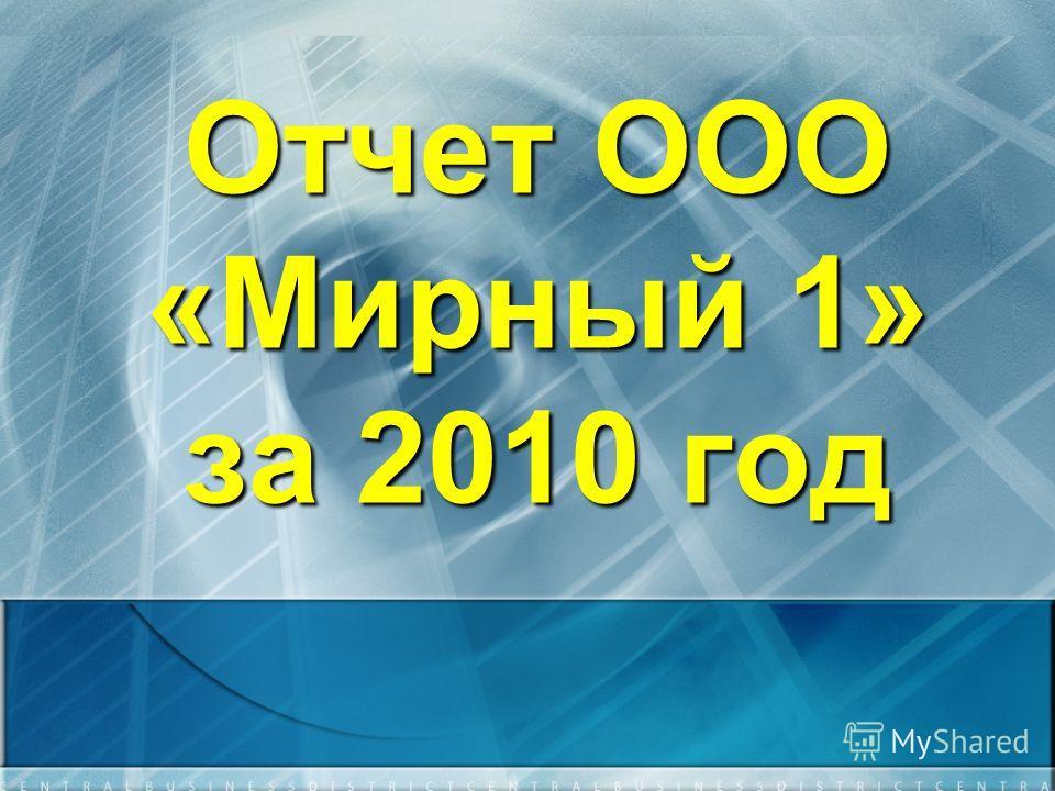 Отчет ООО «Мирный 1» за 2010 год