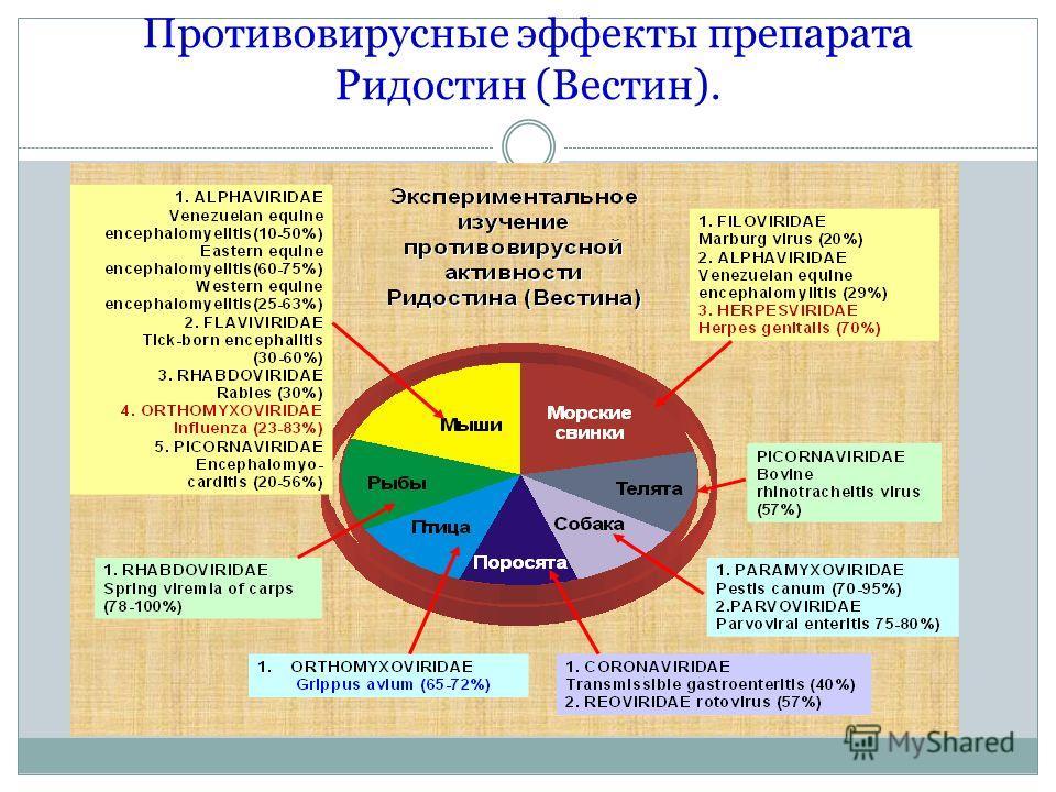 Противовирусные эффекты препарата Ридостин (Вестин).