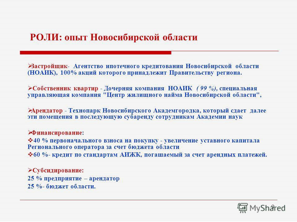 9 РОЛИ: опыт Новосибирской области Застройщик- Агентство ипотечного кредитования Новосибирской области (НОАИК), 100% акций которого принадлежит Правительству региона. Собственник квартир - Дочерняя компания НОАИК ( 99 %), специальная управляющая комп