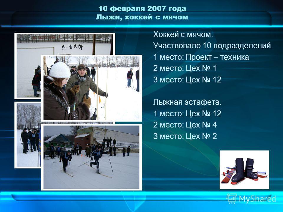 10 февраля 2007 года Лыжи, хоккей с мячом Хоккей с мячом. Участвовало 10 подразделений. 1 место: Проект – техника 2 место: Цех 1 3 место: Цех 12 Лыжная эстафета. 1 место: Цех 12 2 место: Цех 4 3 место: Цех 2