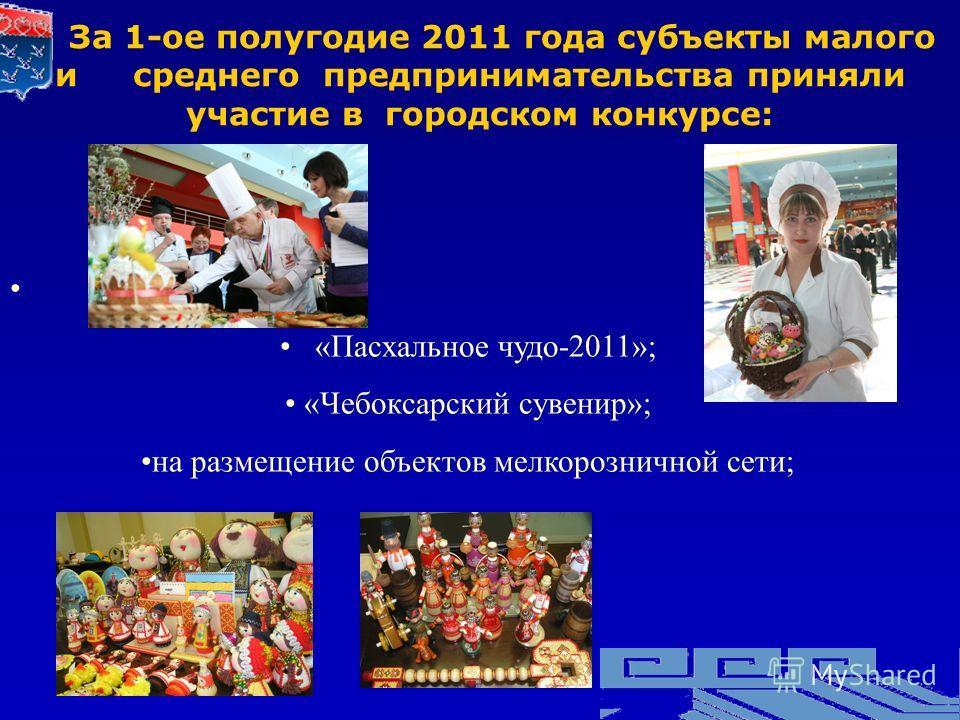 «Пасхальное чудо-2011»; «Чебоксарский сувенир»; на размещение объектов мелкорозничной сети; За 1-ое полугодие 2011 года субъекты малого и среднего предпринимательства приняли участие в городском конкурсе: