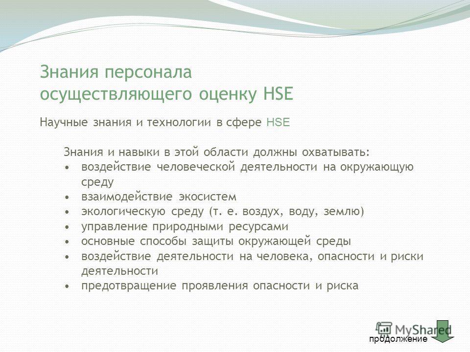 Знания персонала осуществляющего оценку HSE Научные знания и технологии в сфере HSE Знания и навыки в этой области должны охватывать: воздействие человеческой деятельности на окружающую среду взаимодействие экосистем экологическую среду (т. е. воздух