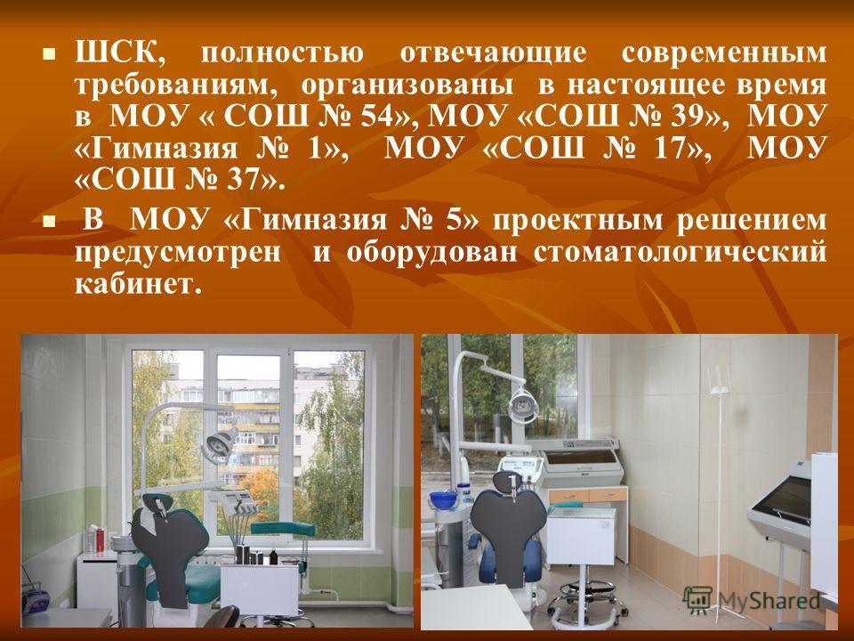 ШСК, полностью отвечающие современным требованиям, организованы в настоящее время в МОУ « СОШ 54», МОУ «СОШ 39», МОУ «Гимназия 1», МОУ «СОШ 17», МОУ «СОШ 37». В МОУ «Гимназия 5» проектным решением предусмотрен и оборудован стоматологический кабинет.